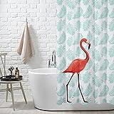 FuXing PEVA Duschvorhang Wasserdicht und Mildewproof Flamingo Digital Gedruckt Badvorhang Badezimmer Duschvorhang 180 x 200 cm