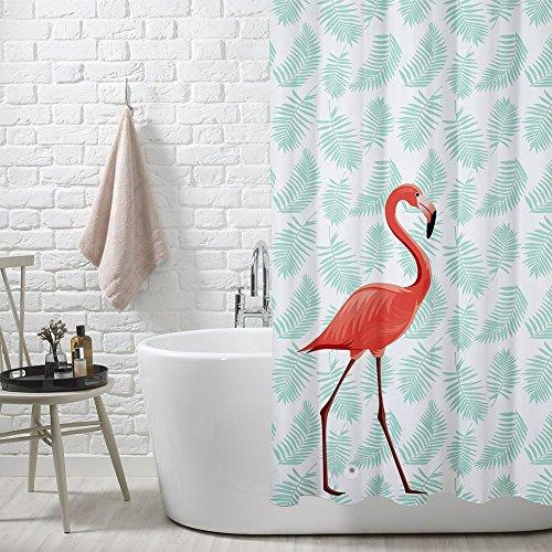FuXing PEVA Duschvorhang Wasserdicht und Mildewproof Flamingo Digital Gedruckt Badvorhang Badezimmer Duschvorhang 180 x 200 cm (Schwarzer Duschvorhang 78 In)