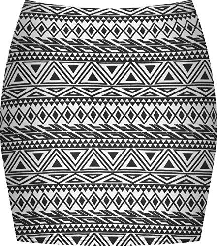 WearAll - Imprimé Extensible elastiqué Jersey Court Mini-Jupe Moulant - Petit Aztec - 40-42