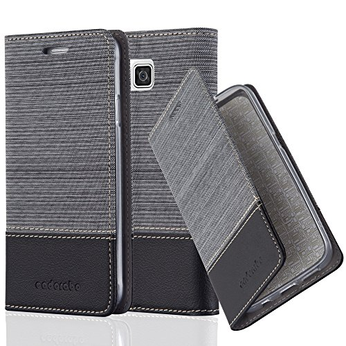 Cadorabo Hülle für Samsung Galaxy Alpha - Hülle in GRAU SCHWARZ – Handyhülle mit Standfunktion und Kartenfach im Stoff Design - Case Cover Schutzhülle Etui Tasche Book
