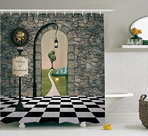 LZHsunni88 Alice in Wonderland Decorations by, Welcome Wonderland Black and White Floor Tree Landscape Mushroom Lantern, Polyester Fabric Bathroom Shower Curtain, 84 inches Extra Long, Multi