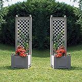 2er Set Pflanzkasten mit Spalier Rankkasten 43cm grau Blumenkasten Blumenkübel