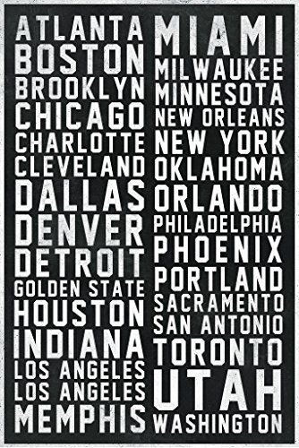 Poster Foundry NBA National Basketball Association USA Team Cities Sports Poster 36x54 inches Poster