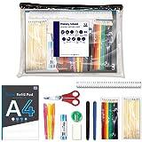 33 Piece Essential Stationery School Park Pencils Pens Glue Scissors Rulers Pads and More