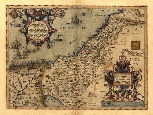 OFA Mapping Antike Karte von Palästina, Reproduktion, von Abraham Ortelius, Vintage-Optik, 48 x 33cm