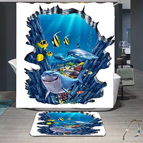 Hoch 108 Duschvorhang (RLF LF Wasserdichter Und Mehltau-Duschvorhang 3D-Digitaldruck Umwelt Duschvorhang Tuch Polyester High-Grade-Toilettenartikel Durch RLF.LF,White,200Cm*200Cm)