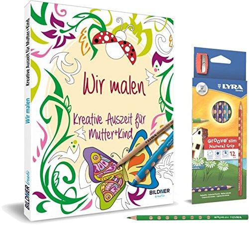 Kreativset: Wir malen - Kreative Auszeit für Mutter und Kind: Malbuch mit 12 hochwertigen...