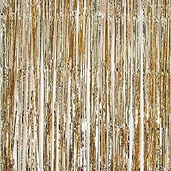 Folienhintergrund, 91,4 x 244 cm, glänzende Metallic-Lametta, Party, Foto, Requisiten für Geburtstag, Hochzeit, Brautparty, Weihnachtsdekoration, Champagnergold champagnerfarben/goldfarben