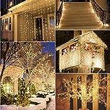 3m x 3m LED Lichterkette Vorhang 8 Modi Leuchtvorhang Mit 300LEDs 4.5V 3.6W Lichtervorhang Romantisch Licht Schnur String Fairy Lights für Innen Party Hochzeit Weihnachtsbeleuchtung (warmweiß)