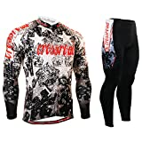 Cycling MTB Motorcycle Workout Compression Sportwear Top & Pad Pants Sport Suit Y89 XXXL