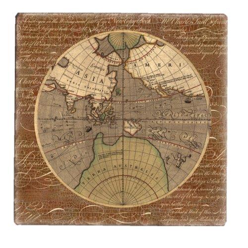 ein Tile Alte Weltkarte Untersetzer, 4Stück ()
