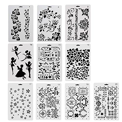 NouveLife Lot de 10 Pochoir Feuille d'Arbre Pochoir Fleurs Peinture Cœur Fée 26 x 17,5cm Réutilisable Souple pour Scrapbooking Carte d'Anniversaire Décoration Murale