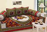 #1: RajasthaniKart 6 Piece 144 TC Cotton Deewan Set - Abstract, Red