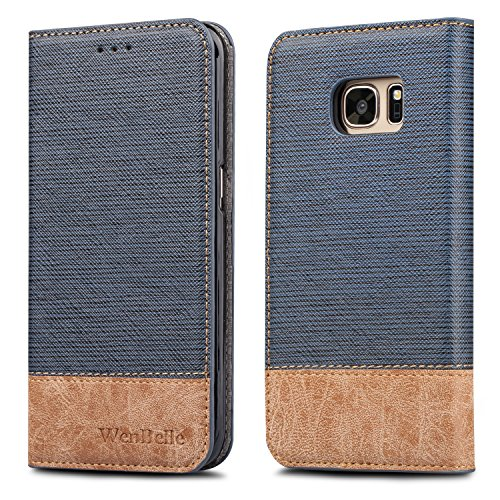 Galaxy S7 Edge Schutzhülle, wenbelle [Blazer Serie] Ständer Feature, Double Layer, Premium Soft pu Farbe passendem Leder Wallet Cover Flip Cases für Samsung Galaxy S7 Edge (Designer-geldbörse Iphone Fall)