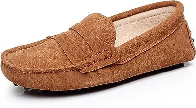 Jamron Donna Classico Scamosciato Cravatta a Farfalla Penny Mocassini Comfort Fatto a Mano Pantofola Abbronzatura 24208 EU36