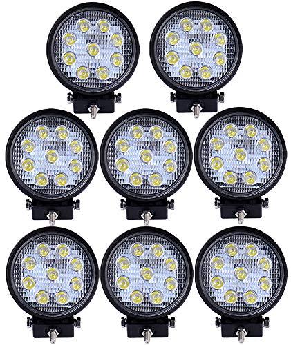 Preisvergleich Produktbild VINGO 8X 27W Arbeitsscheinwerfer LED 12v Rund Arbeitslicht Auto Scheinwerfer Lampe 6500K Weiß Für Trecker Offroad KFZ Bagger SUV