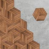 APSOONSELL Fliesenaufkleber für Küche und Bad Dekorative Stickerfliesen Sechseck Motiv Holz Rutschfest für Boden (Länge: 11,5 cm Durchmesser: 23 cm)10 teiliges Set