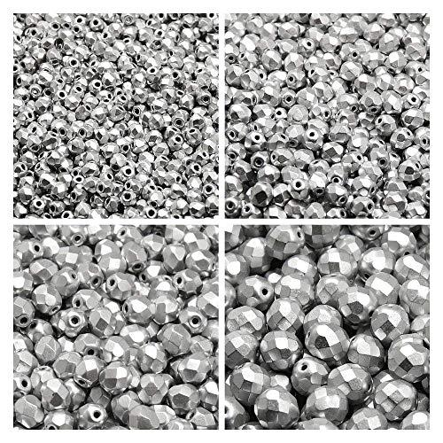Tschechische Fire-Polished Glasperlen Rund 3mm, 4mm, 6mm, 8mm, Silver Matte. Insgesamt 275 Stück. Set 1CFP 009 (3FP005 4FP069 6FP029 8FP039) -