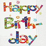 20 Servietten Flower power birthday – Happy birthday / Geburtstag / Geburtstagsfeier 33x33cm