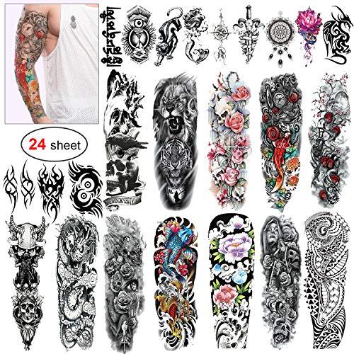Full Arm temporäre Tattoos, Konsait 24 Blätter temporär Tätowierung schwarz Klebe Tattoo Aufkleber Fake Arm Tattoos Sticker Body Art für männer Frauen, Drachen Anker Rose und mehr