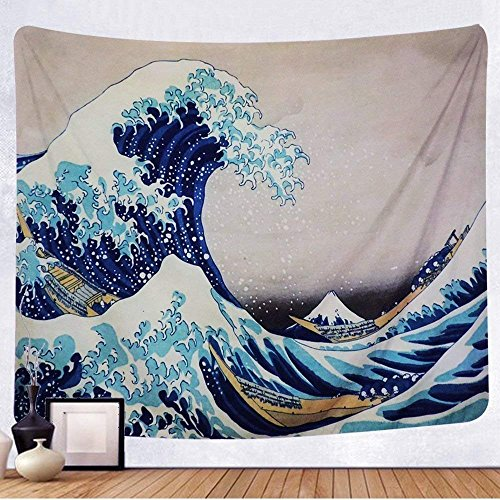 """Amkun Tapisserie Wand aufhängen, Great Wave Kanagawa Wand Strandtuch mit Art Nature Home Dekor für Wohnzimmer Schlafzimmer Wohnheim Decor, Wave(59.1\"""" × 82.7\""""), Einheitsgröße"""
