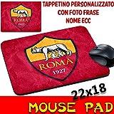 Tappetino Mouse Pad Personalizzato Squadre Calcio Maglia Magica Roma Giallorossi Stemma Logo Foto