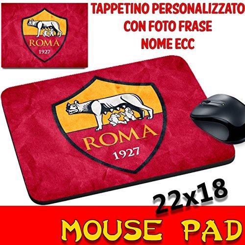 Mauspad Maus Pad Individuelle Teams Fußball Trikot Magische Roma gelb/rote Wappen Logo Foto (Home Fußball-trikot Gelb)