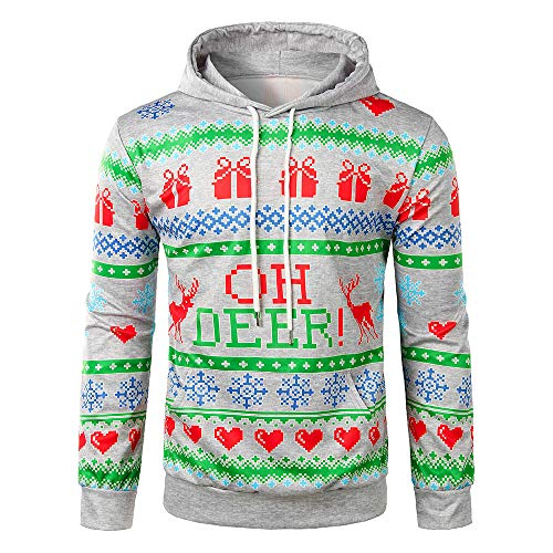TWBB Herren Wintermantel,Sweatershirt 3D Weihnachten Hirsch Drucken Winterjacke Warm Pullover Jacke Patchwork Outwear