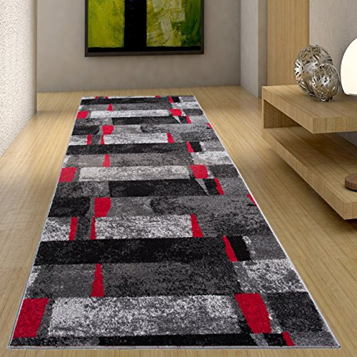 Tapiso jawa tappeto passatoia corridoio entrata casa soggiorno moderno grigio rosso nero a quadretti geometrico a pelo corto 80 x 600 cm