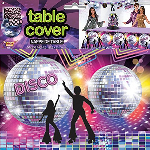 Disco Party Table Cover. 54 x 108 inches.