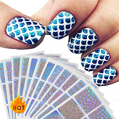 feiXIANG 12 Feuilles Différents Styles Stencil Ongles Nail Art Stickers Set Designs Cute Nail Art Ongles Stencil Feuilles