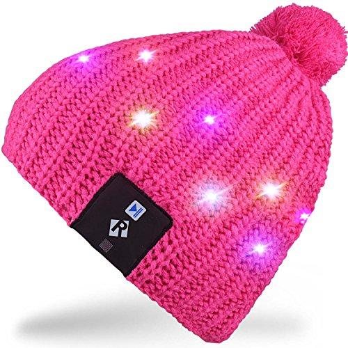 Rotibox LED String Light Up cappello Beanie cappello a maglia con filo di rame Luci colorate 4 piedi 18 LED per Uomini Donne indoor e outdoor, Festival, festività, feste, party, bar, regali di Natale - Rose