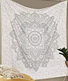 Aakriti Gallery Tapisserie Reine ombré Cadeau Hippie tapisseries Mandala Bohemian Psychédélique Complexe Indien Couvre-Lit 233,7x 208,3cm (Argent Nouveau)