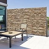 IDMarket - Paravent extérieur rétractable 300 x 160 cm motif pierre