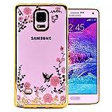 COOVY® Cover für Samsung Galaxy Note 4 SM-N910 / SM-N910F / SM-N9100 leichtes, ultradünnes TPU Silikon Bumper Case, Slim, Blumen Design mit Strass Steinen | Farbe Gold