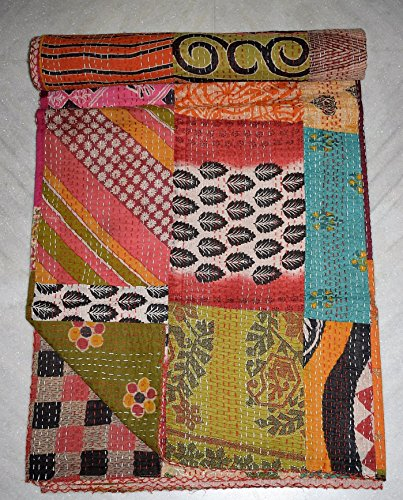 Tribal Asian Textiles Patchwork Kantha Couvre-lit Gudari, Faite à la Main Indien Couette, Queen Size Couvre-lit Ralli