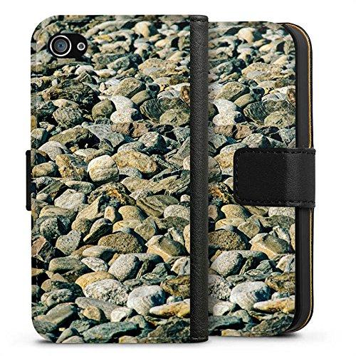 Apple iPhone X Silikon Hülle Case Schutzhülle Steine Fels Natur Sideflip Tasche schwarz