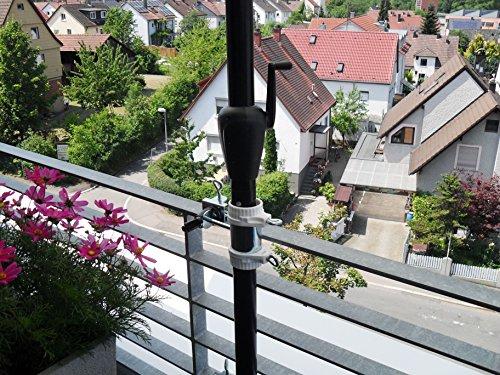 2 x EDELSTAHL HALTERUNG bis Ø 40 mm - für Schirmstöcke 25,5 mm bis 55 mm Ø für BALKONGELÄNDER...