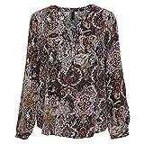 SOYACONCEPT 14314-30 Damen Bluse mit modernem floralem Muster Kurze Knopfleiste, Groesse XL, Bordeaux/rosé/Gemustert