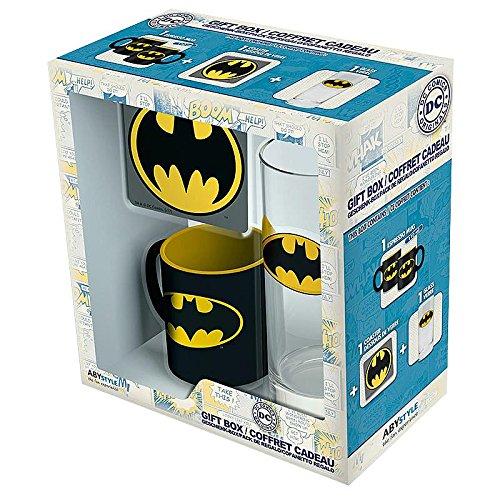 Geschenkbox / Geschenkset Batman Logo - 3-teilig (Glas, Tasse, Untersetzer) - Geburtstag, Weihnachten, Ostern, Nikolaus (Logo-mini-fledermaus)