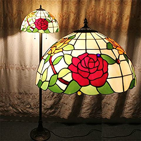 Tiffany 16 Pouces Rose Simple Européenne Style Pastoral Luxe Élégant Creative Main Stained Glass Tiffany Floor Lamp