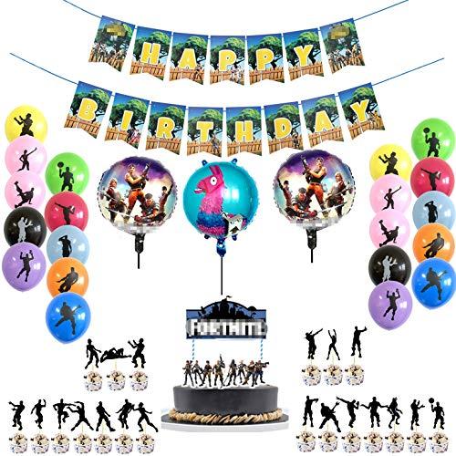MJHE Juego de artículos para Fiesta de 41 Piezas,19 Globos de Fiesta,Pancarta de Feliz cumpleaños y cumpleaños de 21 Piezas Cake Topper/Cupcake Toppers para Decoraciones de Fiestas Infantiles
