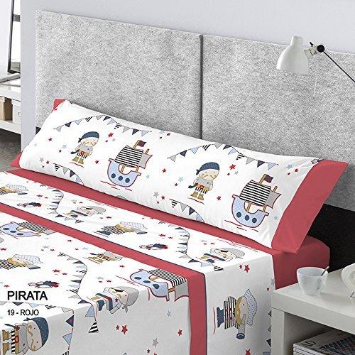 CATOTEX - Juego sábanas infantil PIRATA Catotex. Cama de 105 cm. Color Rojo - Sedalinne