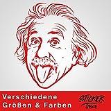 ALBERT EINSTEIN Wandtattoo Wandaufkleber Sticker Aufkleber (100cm (B) x 105cm (H) L, Rot)
