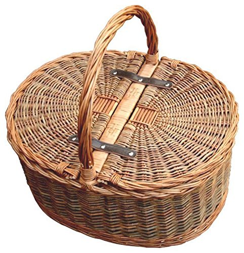 Red Hamper Two Tone Oval Picnic 2 Lid Twist Handle Empty Picnic Basket