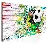 murando Bilder Fussball 140x70 cm - XXL Format – Leinwand – 1 Teilig - Wand Bild Kunstdruck Wandbild – Ziegel Graffiti Fußball Kinder Bunt Weiß i-A-0136-b-a
