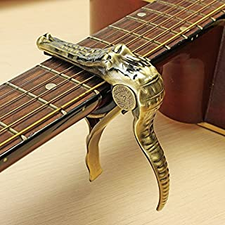 Acoustic Electric Classical Guitar banjo ukulele quick change Gold Crocodile Trigger Capo with thumb pick and plectrum guitar accessories Great gift for guitarist Celluloid Pick guitar accessories kit