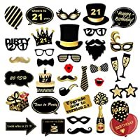 Veewon 21st Birthday Party Photo Booth Props Funny Birthday Celebration Decoration Supplies - 35 Count