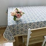 DKEyinx Klassische Tischdecke blau und weiß Porzellan Home Vintage Tischdekoration Dekor, Baumwolle + Leinen 140cm x 160cm