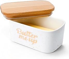 Sweese Butterdose mit Deckel, Hochwertig Porzellan und Holzdeckel mit Silikon-Dichtlippe, groß